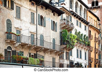 The rustic facade of an apartment building - Beautiful...
