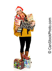 Christmas shopping - Attractive women doing christmas...