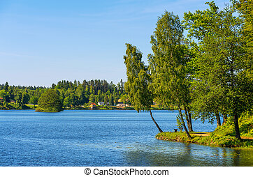Countryside Sweden - Lagan river in Stromsnasbruk Sweden,...