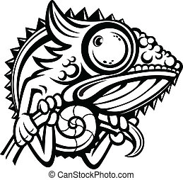 Chameleon cartoon character outline - Chameleon cartoon...