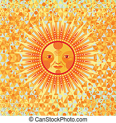 Summer sun background - Decorative summer sun on geometric...