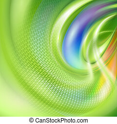 Abstract green background with rainbow element