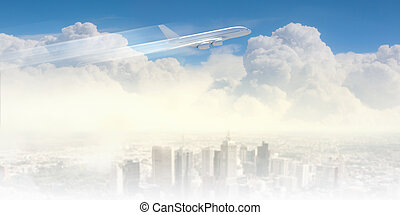 Image of airplane in sky - Image of flying airplane above...