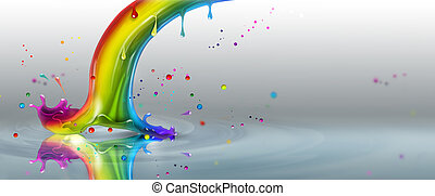 end of the rainbow splash on a light background