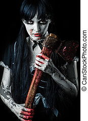 Dead female zombie with bloody axe. Halloween concept