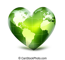 symbol environmental - green heart with world map