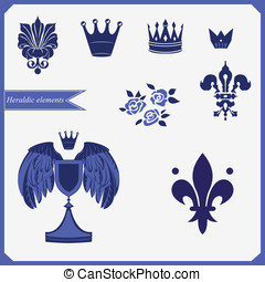 Heraldic silhouettes set of many vi
