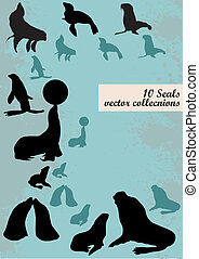 Silhouettes of seals on a vintage background