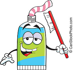 Cartoon tube of toothpaste - Cartoon illustration of a tube...