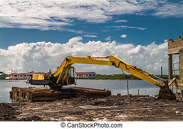 Steam Shovel in Ambergris - Dredging steam shovel at rest.