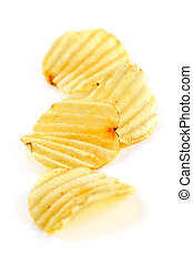 Potato chips - Several potato chips isolated on white...