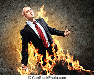 Businessman in anger - Image of young businessman in anger...