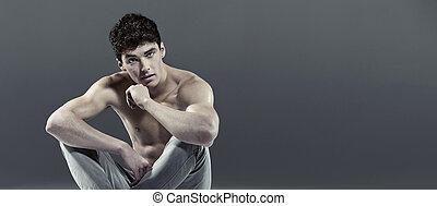 guapo, Atleta, rizado, pelo