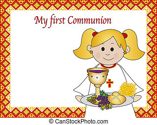 first communion - illustration for first communion for girl