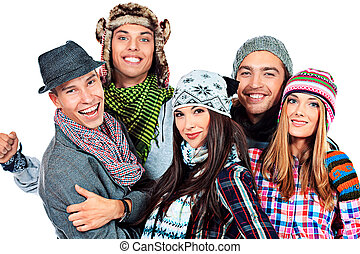 hats and scarfs - Group of cheerful young people in autumn...