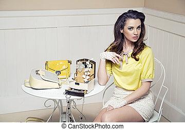 Elegant, bold lady in luxury room - Elegant, bold woman in...