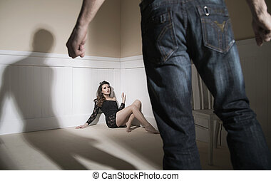 Scene of man and woman expressing domestic violence - Scene...