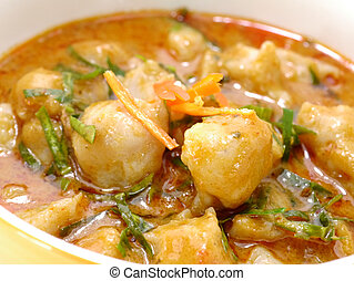 The Red curry with fish ball, Thai food.