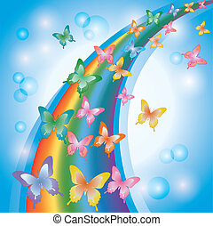 Light colorful background with rainbow and butterflies,...
