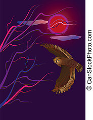 Owl flies by night and the sky a full moon