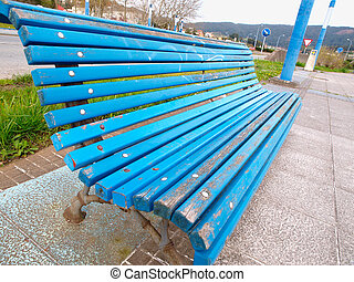 Wooden park bench outdoors