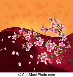 Sakura blossom - Japanese cherry tree on bright colorful background, vector
