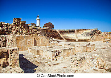 The ancient amphitheatre in Paphos, Cyprus - The ancient...