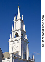 Steeple of a historic church - Steeple of historic white...
