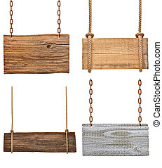 wooden sign background message rope chain hanging
