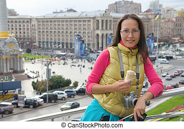 Young asian woman traveler in Kyiv, Ukraine - Young...