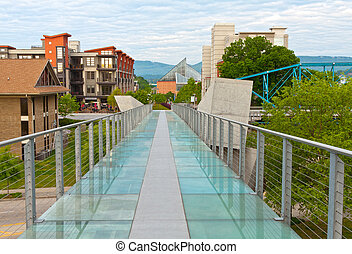 Downtown Chattanooga - Looking across the glass bridge in...