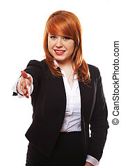 Business woman ready to handshake isolated