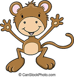 Cute Monkey Ape Vector Art
