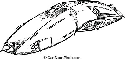 Spaceship UFO Sketch Vector Art