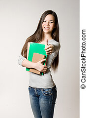 Cute young student girl - Portrait of attractive cute young...