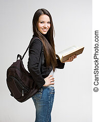 Cute young student girl. - Portrait of attractive cute young...