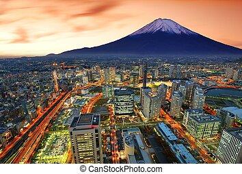 Yokohama and Fuji - View of Yokohama and Mt. Fuji in Japan.