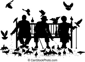 Pigeon feeders - Editable vector silhouettes of three...