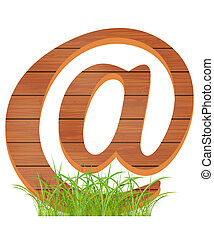 wooden email in the green grass. Vector EPS 10.