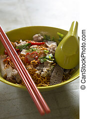Kolo Mee  - A bowl of Kuching Kolo Mee with Red Roasted Meat