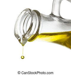 Olive oil drop close up