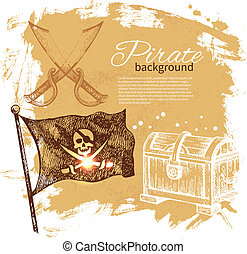 Pirate vintage background. Sea nautical design. Hand drawn...
