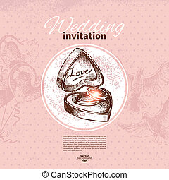 Wedding invitation Hand drawn illustration