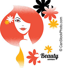 Beautiful girl silhouette in retro style with flowers