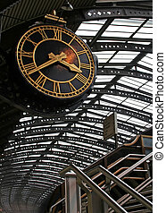 Big clock at York train station, England