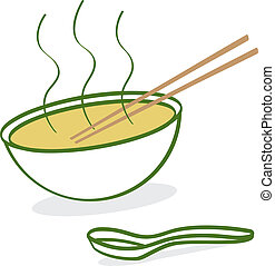 Cartoon Pho - A cartoon depiction of hot Vietnamese Pho soup...