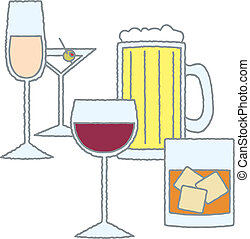 Various Glasses of Alcohol