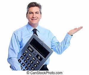contador, hombre de negocios, calculadora
