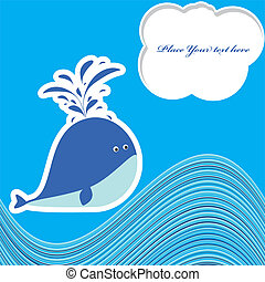 A beautiful card with a cute whale