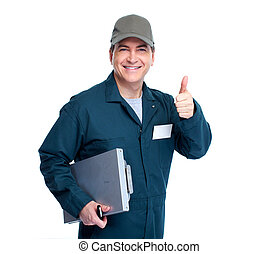 Auto mechanic - Professional Auto mechanic Isolated on white...
